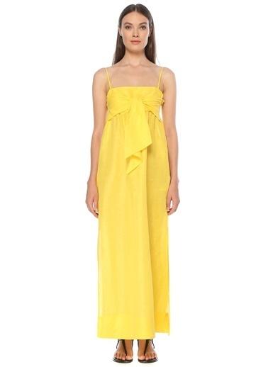 NetWork Kadın 1075562 Düğüm Detaylı Maxi Elbise Sarı